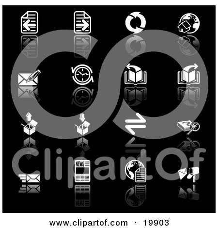 Clipart Illustration of a Collection Of Black And White Browser Icons Of Refresh Arrows, Home Page, Email, Compass, Page, Download, Upload, Search, And News Pics On A Black Background by AtStockIllustration