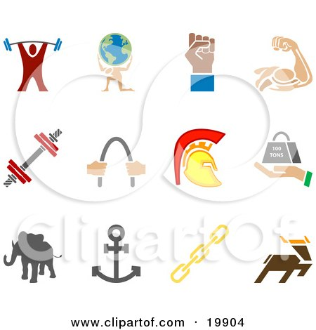 Clipart Illustration of a Collection Of Colorful Strengh Icons Of A Weightlifter, Man Carrying A Globe, Fist, Muscles, Weights, Helmet, Elephant, Anchor, Links And Deer, Over A White Background by AtStockIllustration