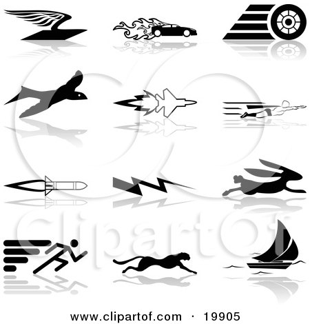 Clipart Illustration of a Collection Of Black Silhouetted Speed Icons Of A Flying Envelope, Race Car, Tire, Bird, Jet, Super Hero, Rocket, Lightning Bolt, Hare, Sprinter, Cheetah, And Sail Boat, Over A White Background by AtStockIllustration