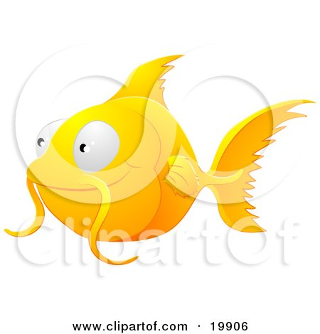 Clipart Illustration of a Cute Orange Goldfish With Whiskers, Smiling And Swimming by AtStockIllustration