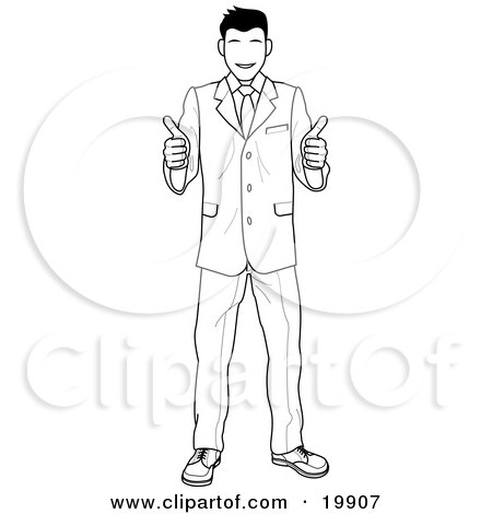Clipart Illustration Of A Satisified Customer Or Boss Smiling And Giving Two Thumbs Up
