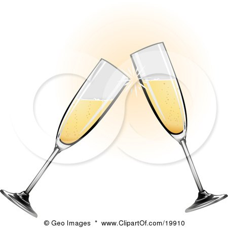 Two Glass Champagne Glasses Toasting On  Posters, Art Prints