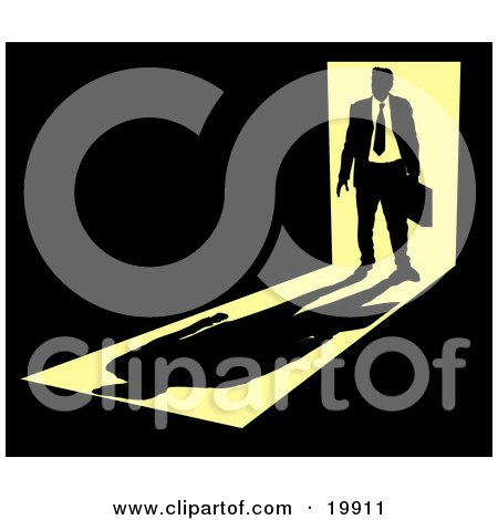 Clipart Illustration of a Silhouetted Businessman Carrying A Briefcase, Standing In A Doorway With Bright Light From Behind, Casting A Shadow In Front Of Him In A Dark Room, Symbolizing The Unknown Future by AtStockIllustration