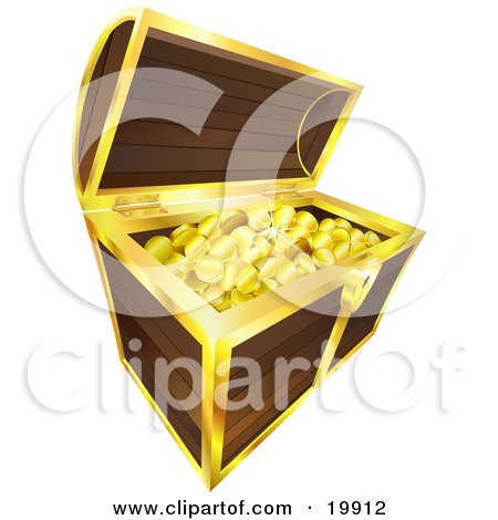 Clipart Illustration Of Golden Coins Pirates Booty Sparkling In A Wooden Treasure Chest With Golden Trim Isolated On A White Background