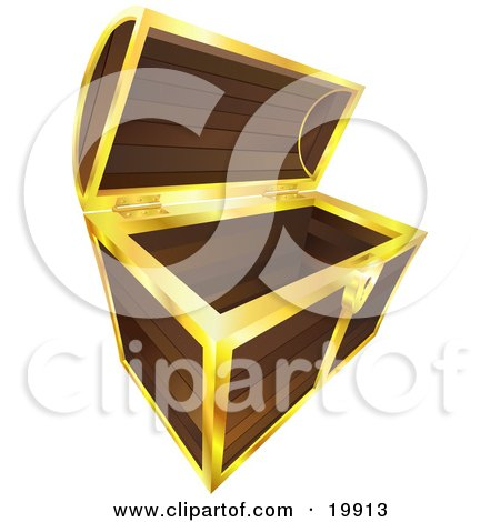 Clipart Illustration Of An Open And Empty Wooden Treasure Chest With Gold Trim
