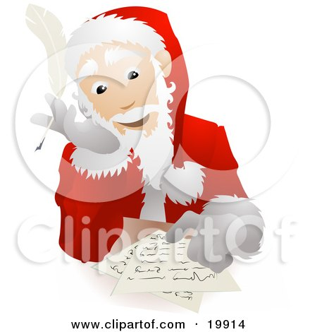 Clipart Illustration of Santa Claus In His Uniform And Hat, Seated At A Table And Replying To Dear Santa Letters Before Christmas by AtStockIllustration