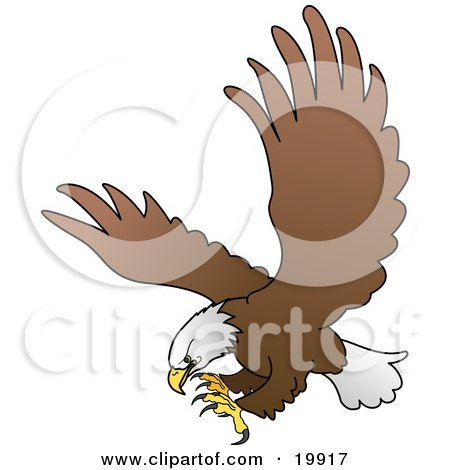 Clipart Illustration of an American Bald Eagle In Flight, Extending His Talons While Preparing To Grasp Prey by AtStockIllustration