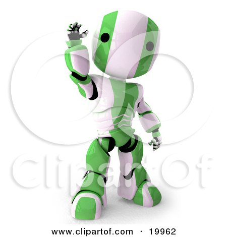 Clipart Illustration of a Friendly Green And White AO-Maru Humanoid Robot Standing And Waving, Over A White Background by Leo Blanchette