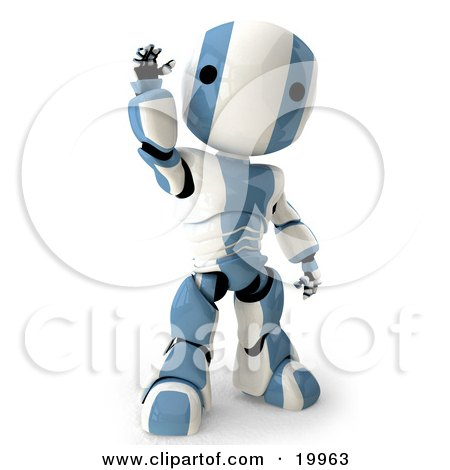 Clipart Illustration of a Friendly Blue And White AO-Maru Humanoid Robot Standing And Waving, Over A White Background by Leo Blanchette