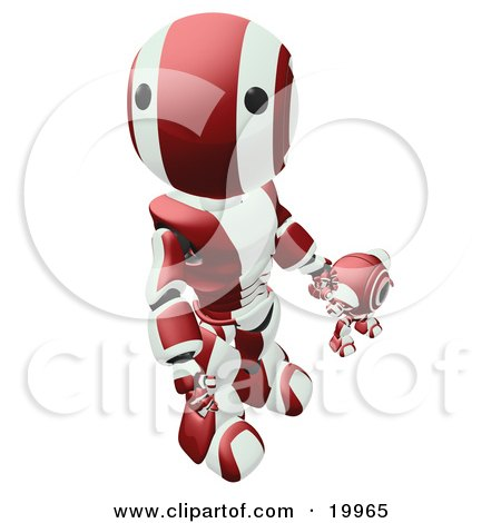 Clipart Illustration of a Humanoid Maroon And White Ao-Maru Robot Looking Upwards While Holding Hands And Walking With A Small Webcam Spybot, On A White Background by Leo Blanchette