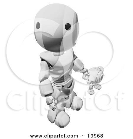 Clipart Illustration of a Humanoid Chrome Ao-Maru Robot Looking Upwards While Holding Hands And Walking With A Small Webcam Spybot, On A White Background by Leo Blanchette
