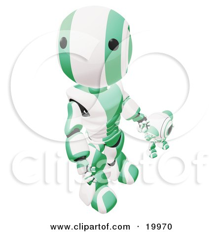 Clipart Illustration of a Humanoid Green And White Ao-Maru Robot Looking Upwards While Holding Hands And Walking With A Small Webcam Spybot, On A White Background by Leo Blanchette