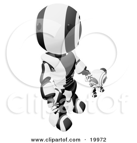 Clipart Illustration of a Humanoid Black And White Ao-Maru Robot Looking Upwards While Holding Hands And Walking With A Small Webcam Spybot, On A White Background by Leo Blanchette