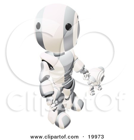 Clipart Illustration of a Humanoid Metallic And White Ao-Maru Robot Looking Upwards While Holding Hands And Walking With A Small Webcam Spybot, On A White Background by Leo Blanchette