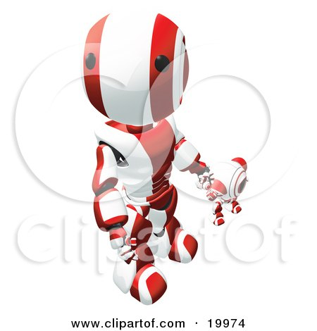 Clipart Illustration of a Humanoid Red And White Ao-Maru Robot Looking Upwards While Holding Hands And Walking With A Small Webcam Spybot, On A White Background by Leo Blanchette