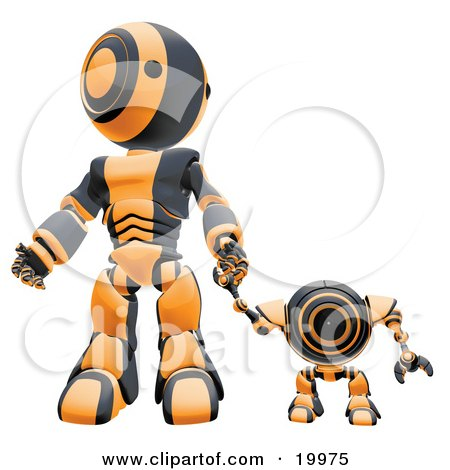 Clipart Illustration of a Black And Orange Webcam Spybot And Humanoid Robot Holding Hands And Walking Forwards by Leo Blanchette