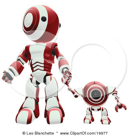 Clipart Illustration of a Maroon And White Webcam Spybot And Humanoid Robot Holding Hands And Walking Forwards by Leo Blanchette