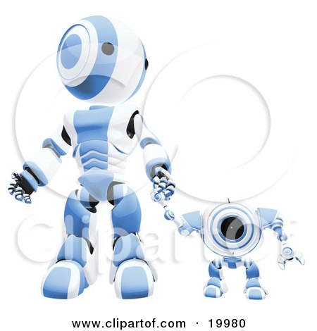 Clipart Illustration of a Blue And White Webcam Spybot And Humanoid Robot Holding Hands And Walking Forwards by Leo Blanchette