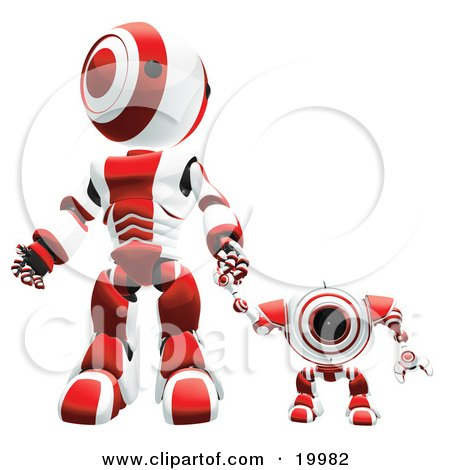 Clipart Illustration of a Red And White Webcam Spybot And Humanoid Robot Holding Hands And Walking Forwards by Leo Blanchette
