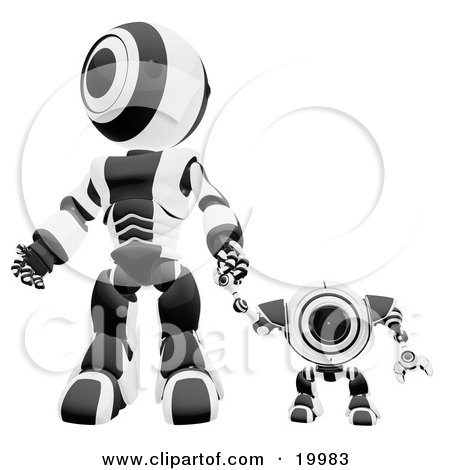 Clipart Illustration of a Black And White Webcam Spybot And Humanoid Robot Holding Hands And Walking Forwards by Leo Blanchette