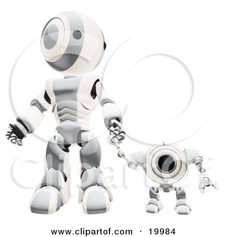 Clipart Illustration of a Chrome And White Webcam Spybot And Humanoid Robot Holding Hands And Walking Forwards by Leo Blanchette