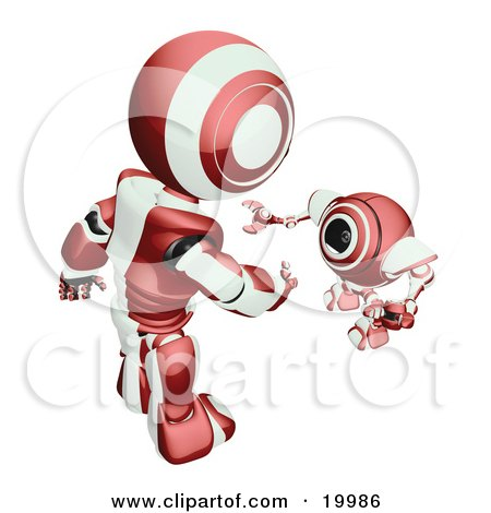 Clipart Illustration of a Short Maroon And White Spybot Webcam Looking Up And Talking With A Humanoid Robot, On A White Background by Leo Blanchette
