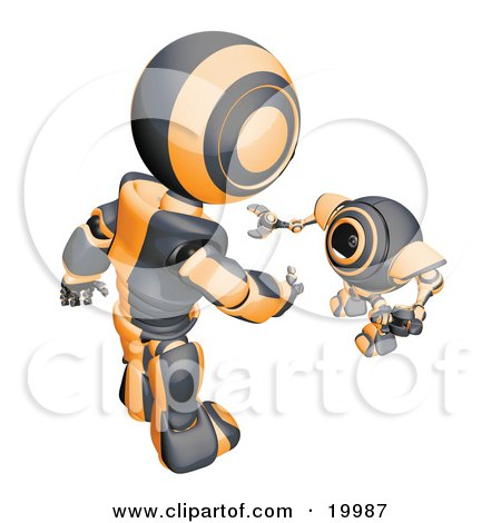 Clipart Illustration of a Short Black And Orange Spybot Webcam Looking Up And Talking With A Humanoid Robot, On A White Background by Leo Blanchette