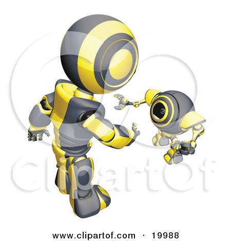 Clipart Illustration of a Short Black And Yellow Spybot Webcam Looking Up And Talking With A Humanoid Robot, On A White Background by Leo Blanchette