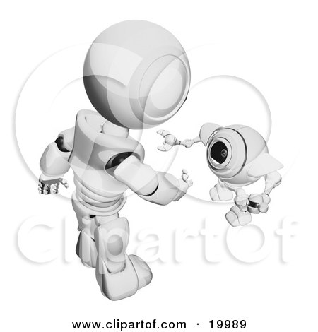 Clipart Illustration of a Short Metallic Spybot Webcam Looking Up And Talking With A Humanoid Robot, On A White Background by Leo Blanchette