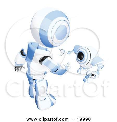 Clipart Illustration of a Short Blue And White Spybot Webcam Looking Up And Talking With A Humanoid Robot, On A White Background by Leo Blanchette