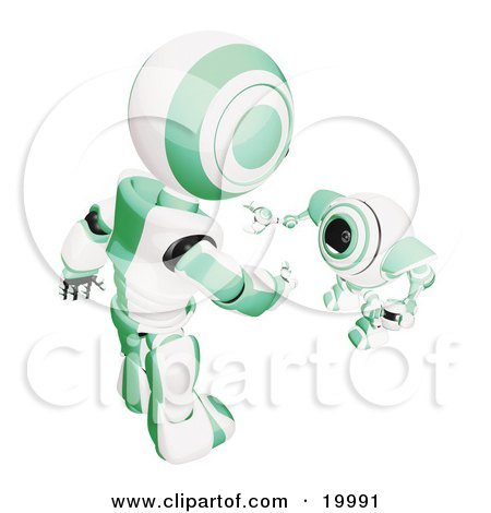 Clipart Illustration of a Short Green And White Spybot Webcam Looking Up And Talking With A Humanoid Robot, On A White Background by Leo Blanchette