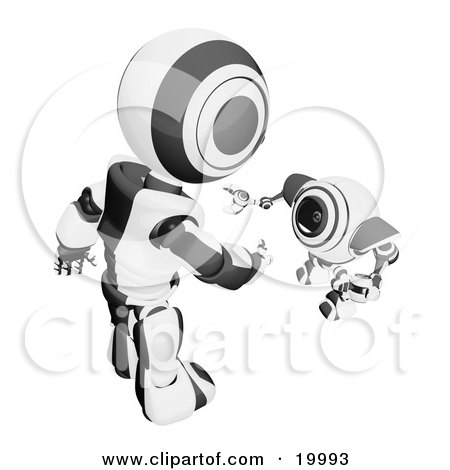 Clipart Illustration of a Short Black And White Spybot Webcam Looking Up And Talking With A Humanoid Robot, On A White Background by Leo Blanchette
