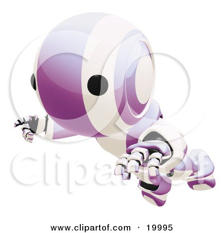 Clipart Illustration of a Clumsy Purple And White Ao-Maru Humanoid Robot Falling Face First To The Ground, Over A White Background by Leo Blanchette