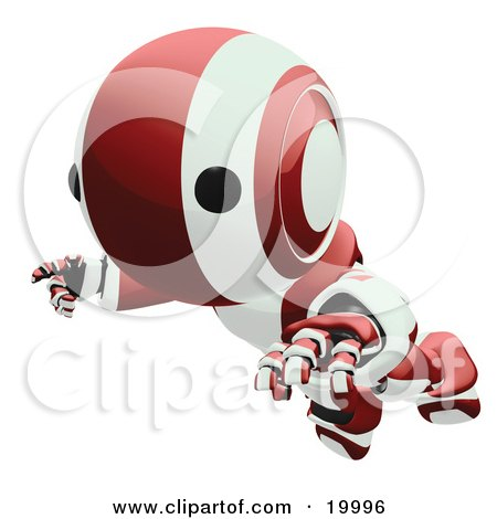 Clipart Illustration of a Clumsy Maroon And White Ao-Maru Humanoid Robot Falling Face First To The Ground, Over A White Background by Leo Blanchette