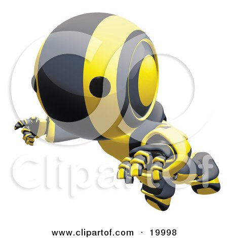 Clipart Illustration of a Clumsy Black And Yellow Ao-Maru Humanoid Robot Falling Face First To The Ground, Over A White Background by Leo Blanchette