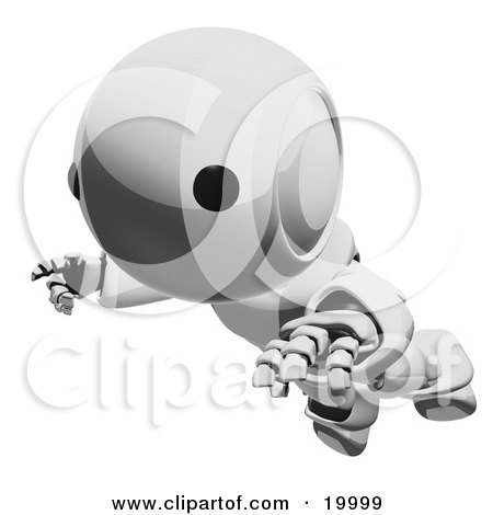 Clipart Illustration of a Clumsy Metallic Ao-Maru Humanoid Robot Falling Face First To The Ground, Over A White Background by Leo Blanchette