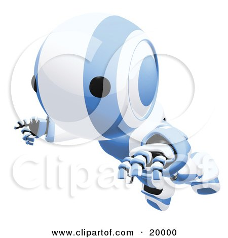Clipart Illustration of a Clumsy Blue And White Ao-Maru Humanoid Robot Falling Face First To The Ground, Over A White Background by Leo Blanchette