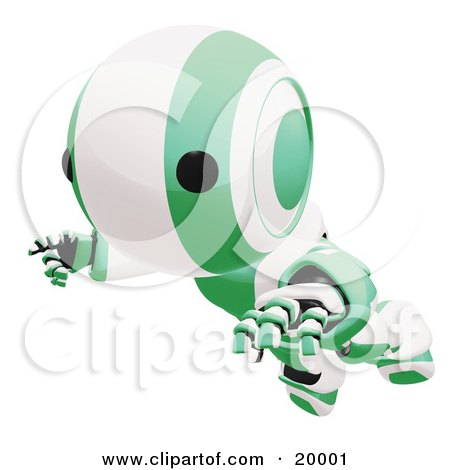 Clipart Illustration of a Clumsy Green And White Ao-Maru Humanoid Robot Falling Face First To The Ground, Over A White Background by Leo Blanchette