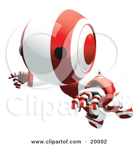 Clipart Illustration of a Clumsy Red And White Ao-Maru Humanoid Robot Falling Face First To The Ground, Over A White Background by Leo Blanchette