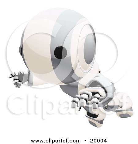 Clipart Illustration of a Clumsy Silver And White Ao-Maru Humanoid Robot Falling Face First To The Ground, Over A White Background by Leo Blanchette