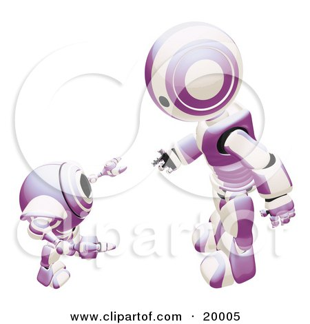 Clipart Illustration of a Purple And White Humanoid Robot Bending Over Slightly To Speak To A Short Webcam Spybot, On A White Background by Leo Blanchette