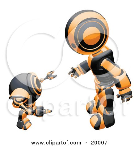 Clipart Illustration of a Black And Orange Humanoid Robot Bending Over Slightly To Speak To A Short Webcam Spybot, On A White Background by Leo Blanchette