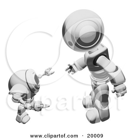 Clipart Illustration of a Metallic Humanoid Robot Bending Over Slightly To Speak To A Short Webcam Spybot, On A White Background by Leo Blanchette