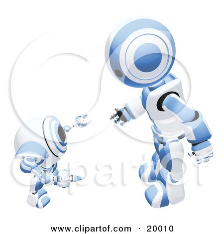 Clipart Illustration of a Blue And White Humanoid Robot Bending Over Slightly To Speak To A Short Webcam Spybot, On A White Background by Leo Blanchette