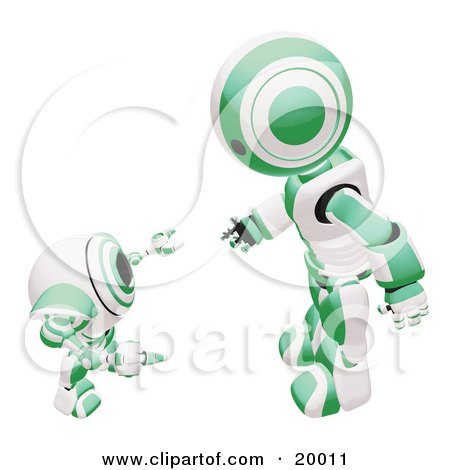 Clipart Illustration of a Green And White Humanoid Robot Bending Over Slightly To Speak To A Short Webcam Spybot, On A White Background by Leo Blanchette