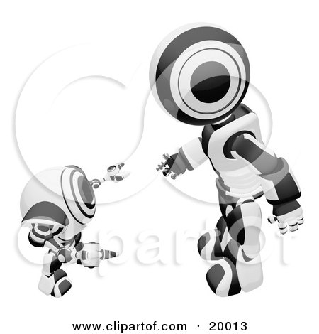 Clipart Illustration of a Black And White Humanoid Robot Bending Over Slightly To Speak To A Short Webcam Spybot, On A White Background by Leo Blanchette