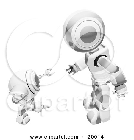 Clipart Illustration of a Chrome And White Humanoid Robot Bending Over Slightly To Speak To A Short Webcam Spybot, On A White Background by Leo Blanchette