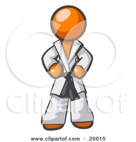 Clipart Illustration of a Tough Orange Man In A White Karate Suit And A Black Belt, Standing With His Hands On His Hips by Leo Blanchette