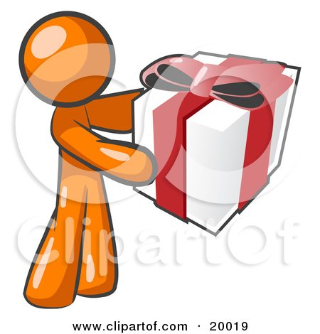 Clipart Illustration of a Thoughtful Orange Man Holding A Christmas, Birthday, Valentine's Day Or Anniversary Gift Wrapped In White Paper With Red Ribbon And A Bow by Leo Blanchette