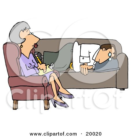 Clipart Illustration of a Depressed Man Lying On A Sofa In A Shrink's Office, Opening Up To A Middle Aged Psychiatrist Woman As She Takes Notes For His Files by djart